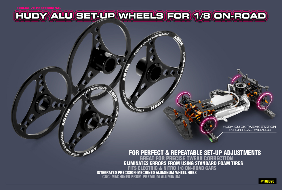 New HUDY Alu Set-Up Wheel for 1/8 On-Road