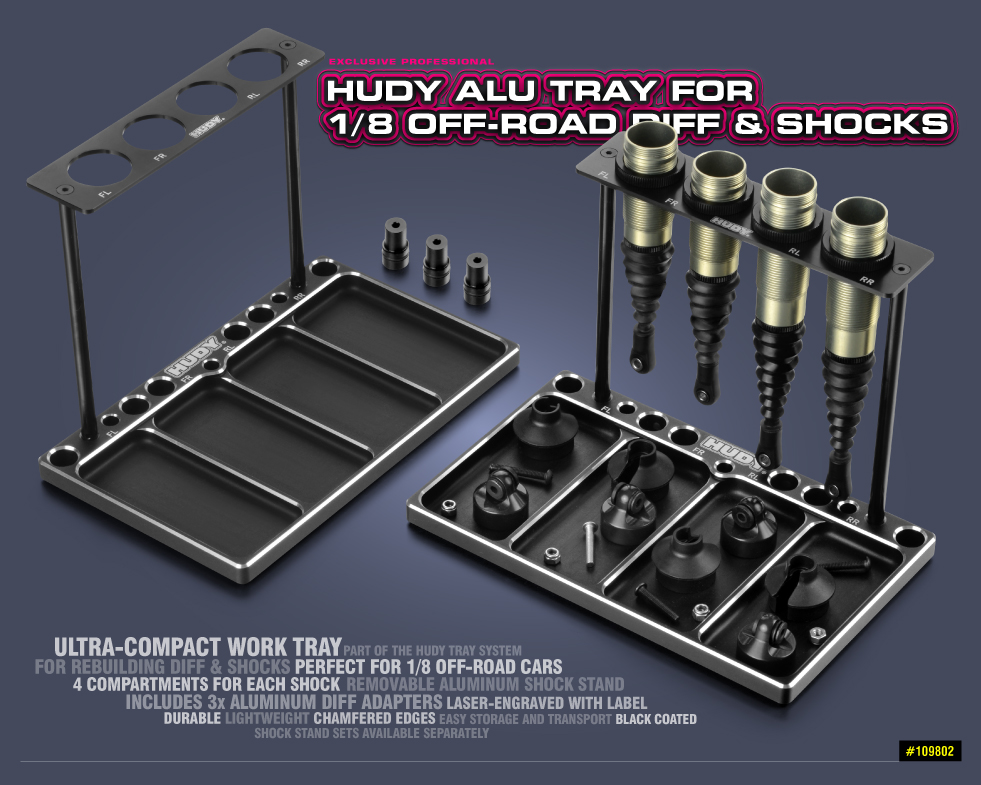 New HUDY Alu Tray for 1/8 Off-Road Diff & Shocks