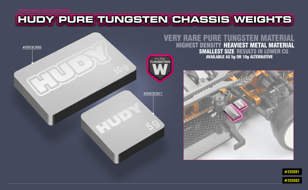 HUDY Pure Tungsten Chassis Weights