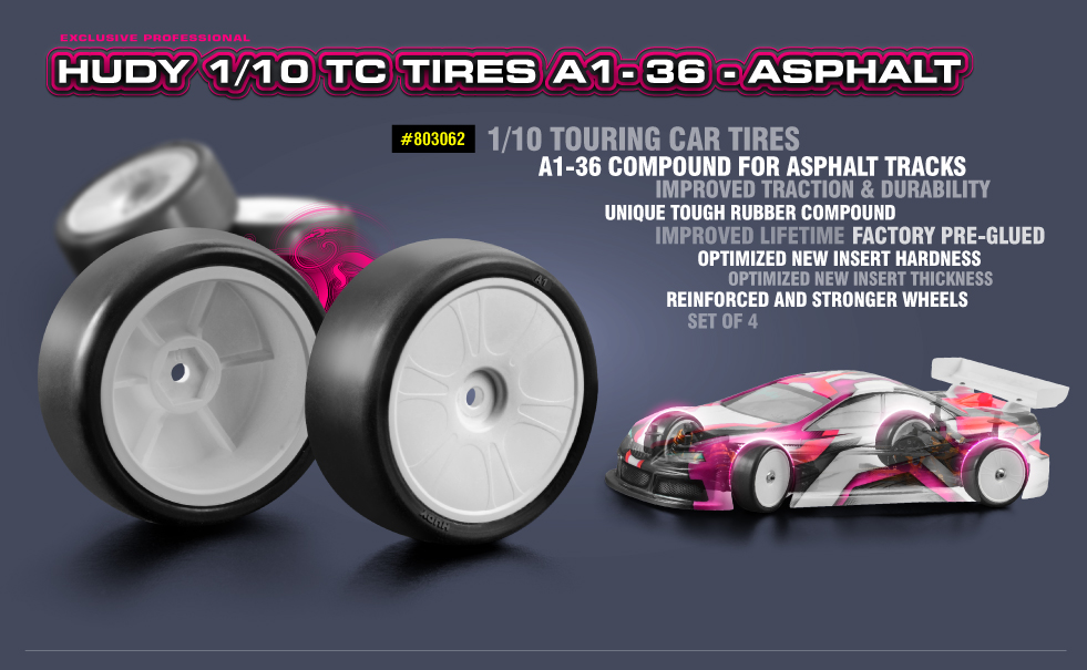 New HUDY 1/10 TC Tires A1-36 - Asphalt
