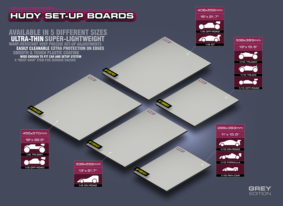 New HUDY Flat Set-Up Board - Lightweight - Grey