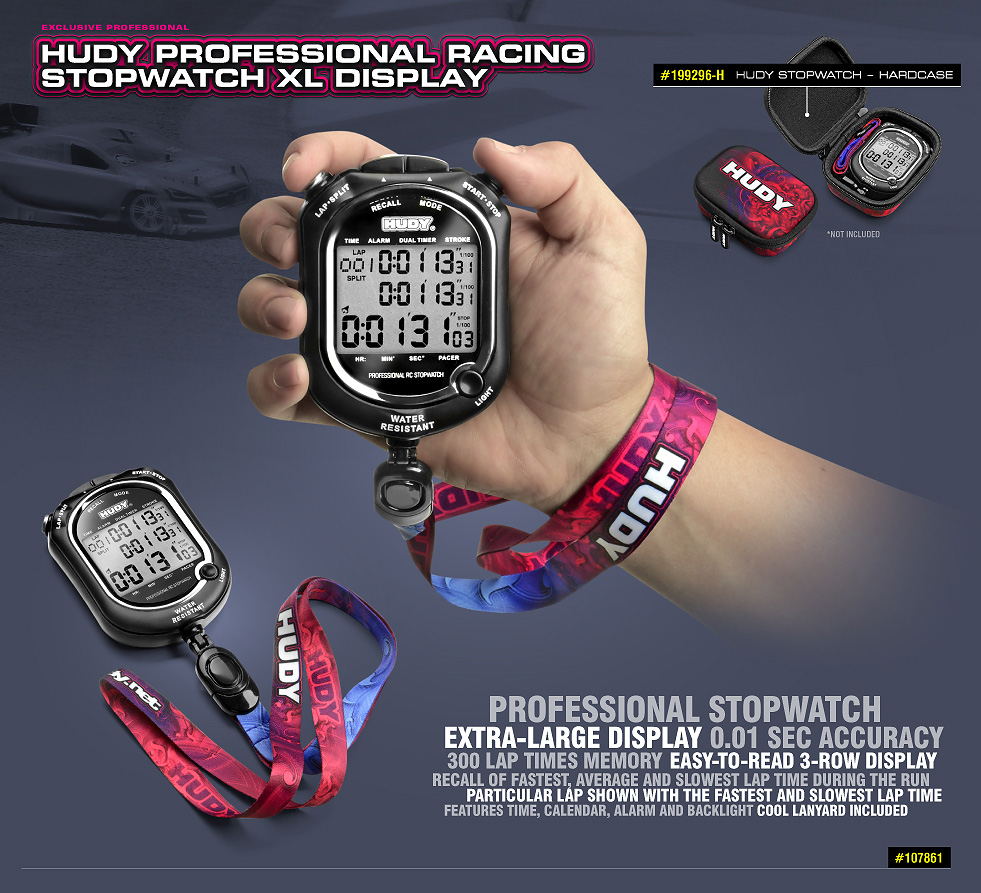 New HUDY Professional Racing Stopwatch XL Display