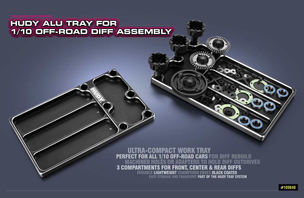 New HUDY Alu Tray for 1/10 Off-Road Diff & Shocks
