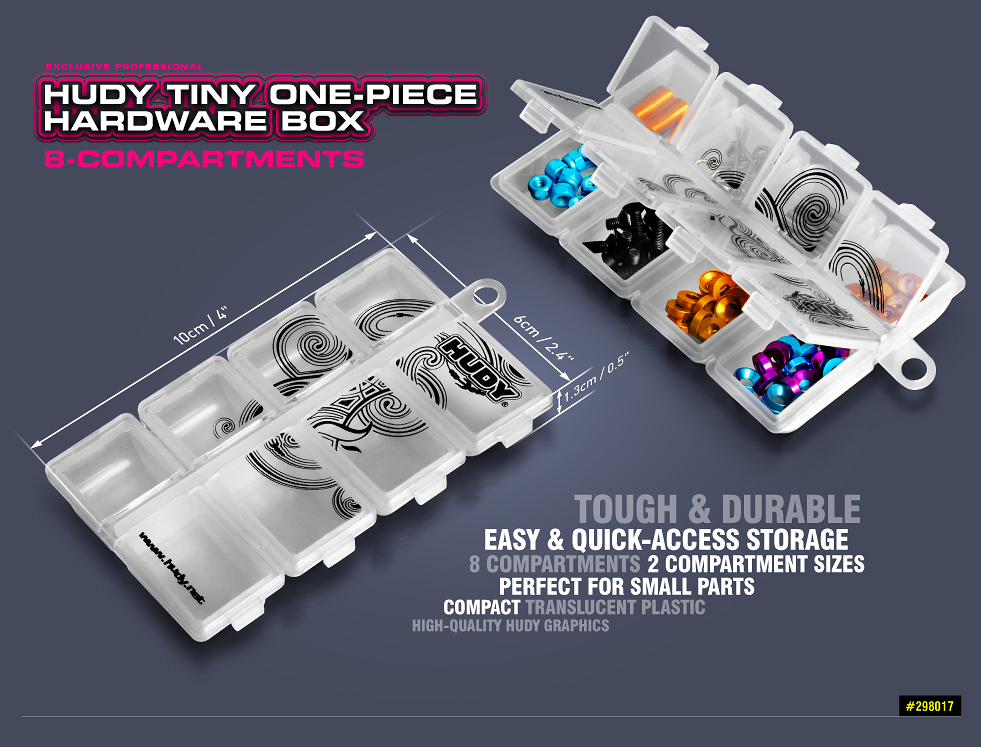 298017 HUDY Tiny One-Piece Hardware Box - 8-Compartments